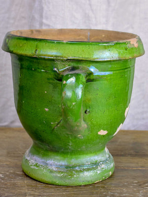 Antique French garden planter with green glaze