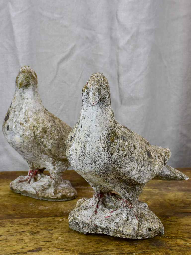 Two mid century French pigeon garden sculptures