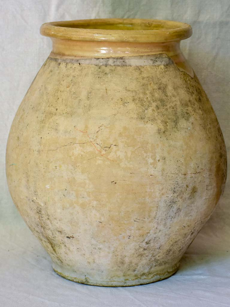Small early 20th Century French Biot olive jar 18""