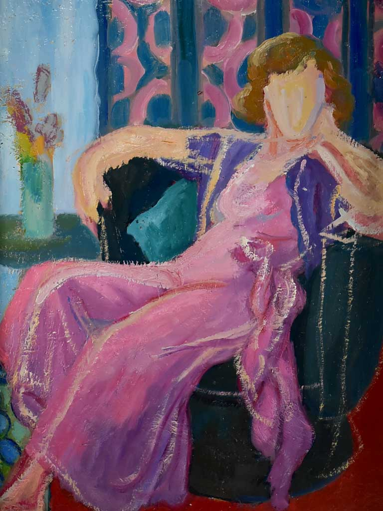 "20th Century oil on canvas - Portrait of a lady in a pink dress - Anna Costa 29¼"" x 40½"""