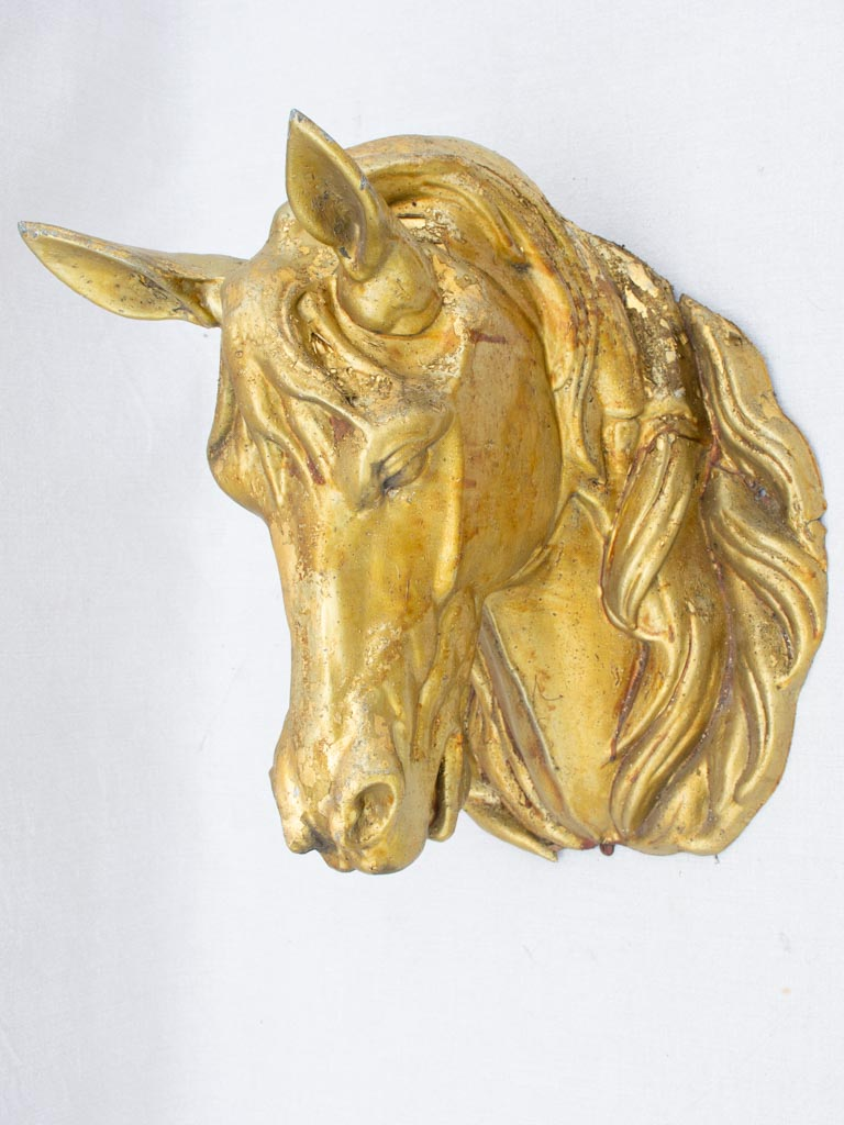 Life-size gilded zinc horse head from stables - 19th century