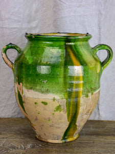 Very large antique French confit pot with green glaze 12 ¾''