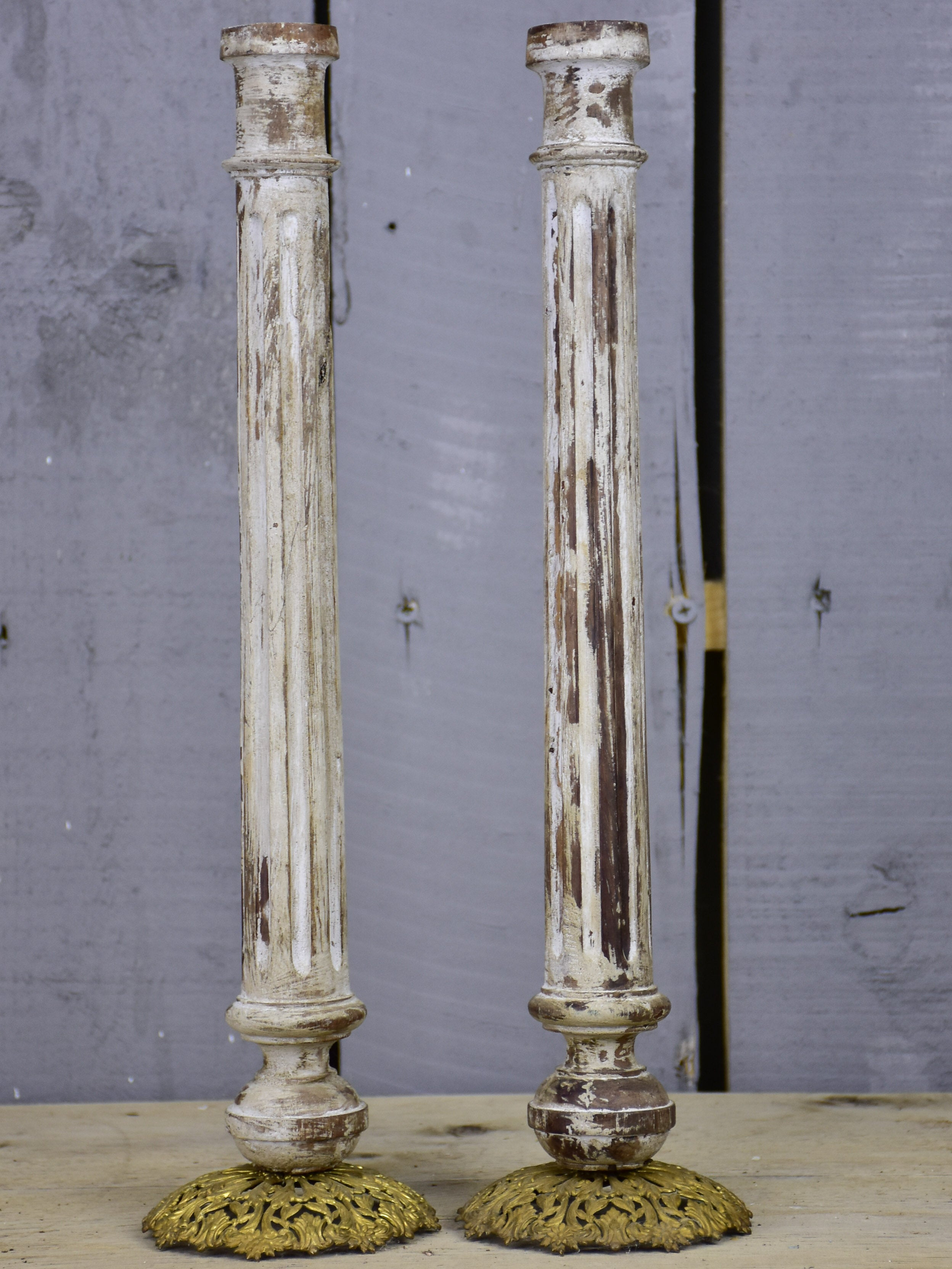 Artisan-made French candlesticks - column shaped