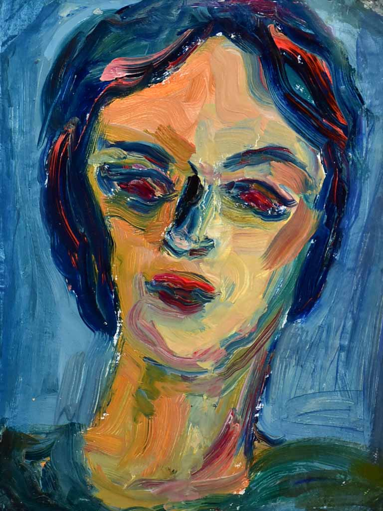 "20th Century oil on board - Portrait - Anna Costa 15"" x 17¼"""