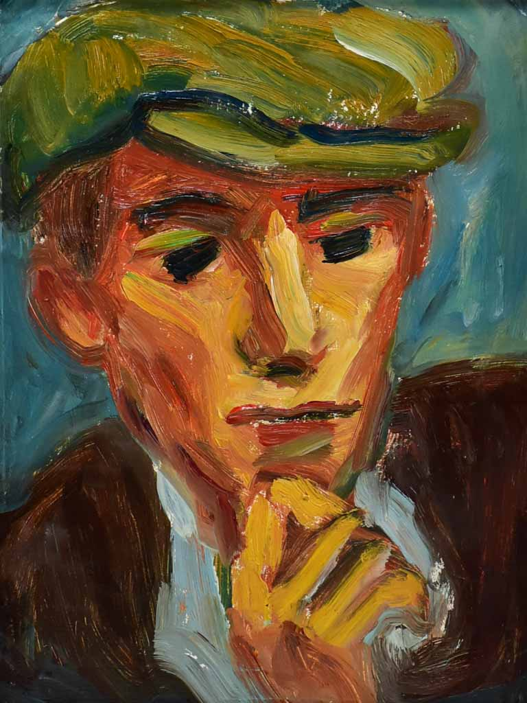 "20th Century oil on board - Portrait of a man in a hat - Anna Costa 13½"" x 16¼"""