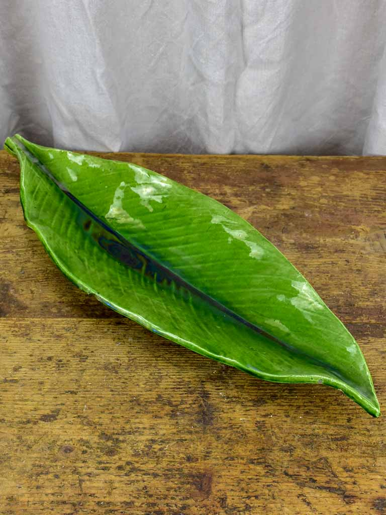Large mid century platter in the shape of a leaf - green glaze
