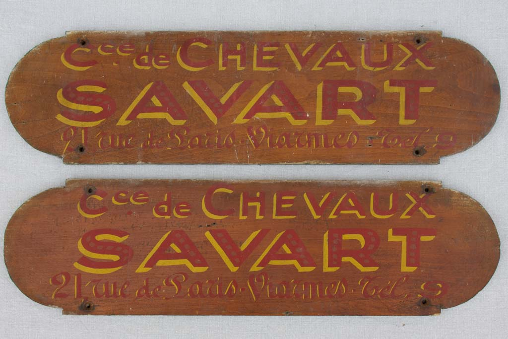 "Two signs from horse stables - late 19th century 27¼"" x"