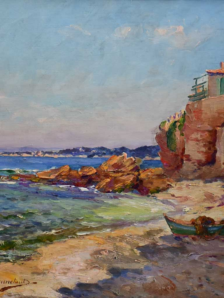 "1940's seascape Marseille - oil on board - Jules Brunetaut 17"" x 20"""