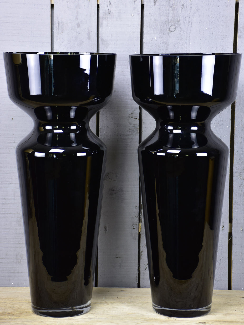 Vintage pair of extra-large black vases
