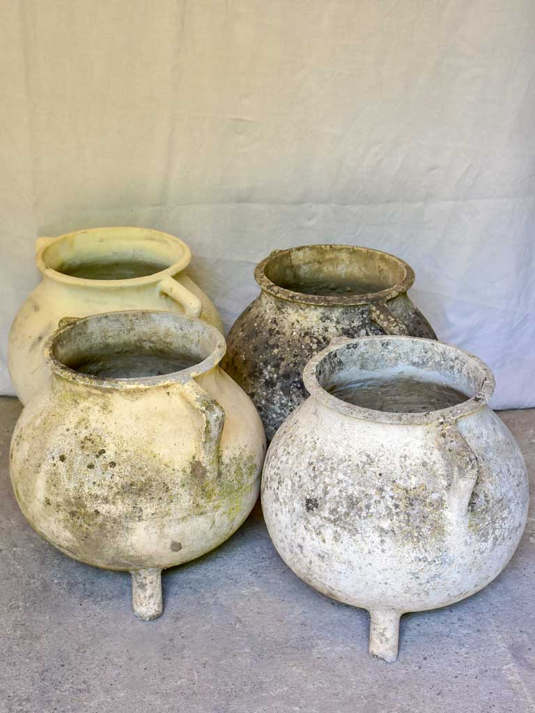 Collection of four Willy Guhl cauldron garden planters