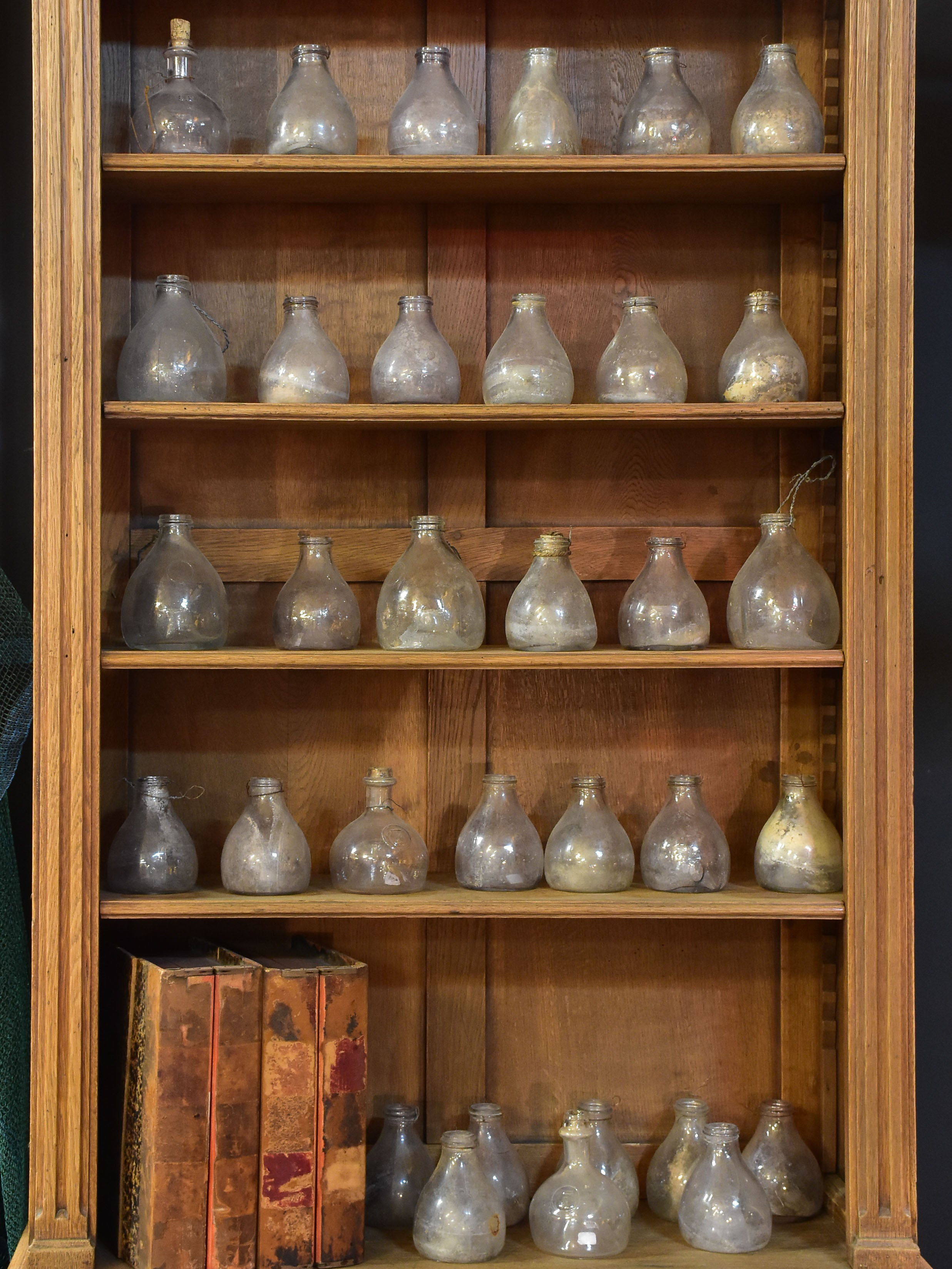 Collection of antique French fly trap bottles