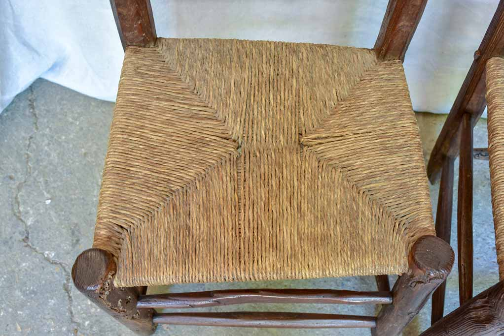Pair of 18th Century French farm chairs with straw seats