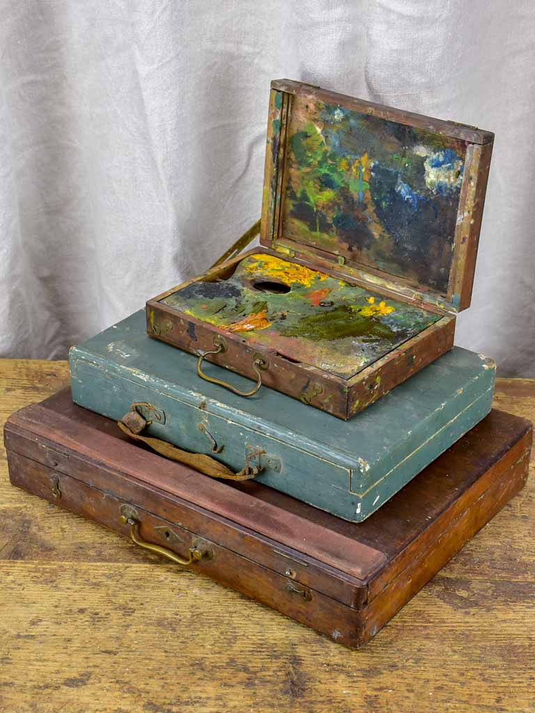 Collection of three antique French paint boxes
