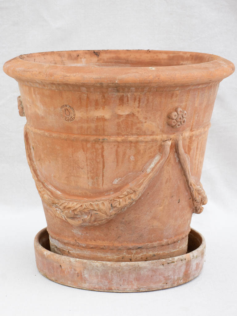 Vintage Biot terracotta planter with saucer