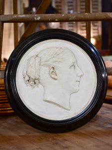 19th century Napoleon III plaster medallion - woman's profile