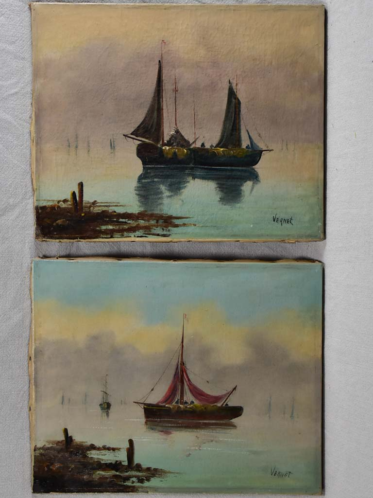 Pair of late nineteenth-century seascapes - oil on canvas - Vernet