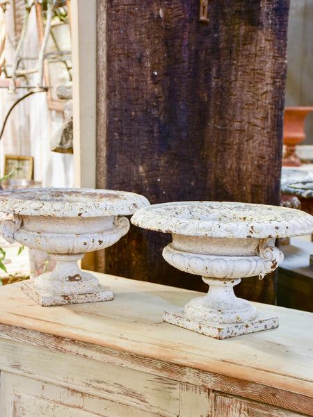 Pair Of Antique French Cast Iron Garden Urns With White Patina