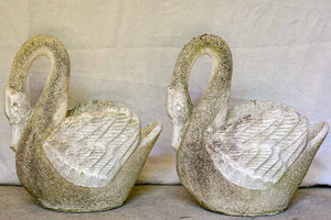Pair of 1970's French swan garden planters