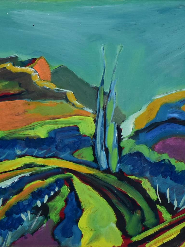 "Oil on canvas - Les Alpilles landscape with cypress - Roger Oulion 21¾"" x 29½"""