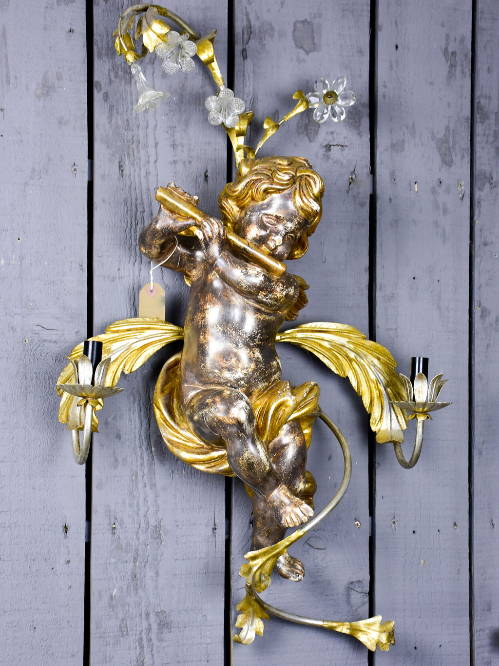 Pair of wall sconces - musical angels