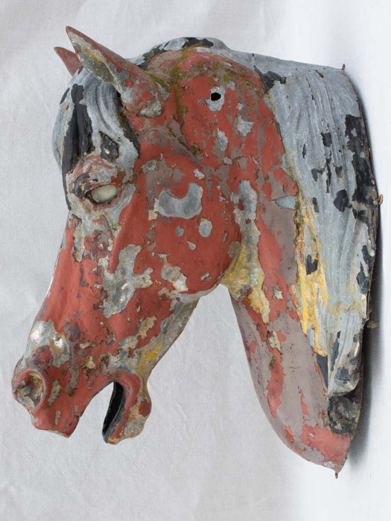Very large rustic zinc horse head from stables