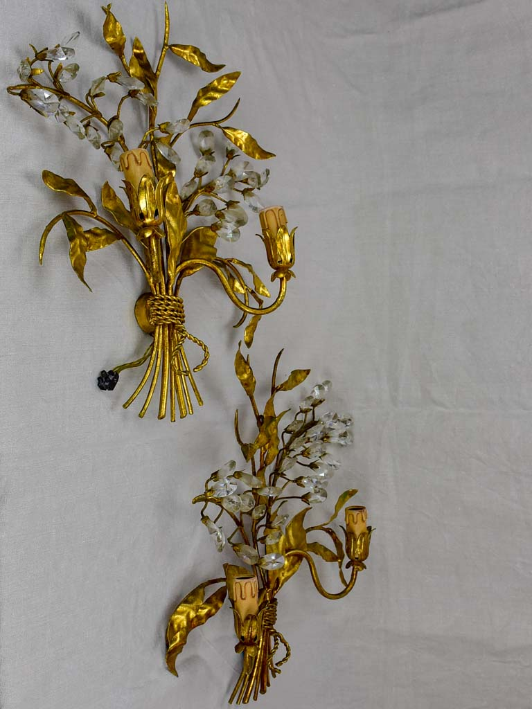 Pair of mid century wall sconces with gold foliage - style Maison Bagues
