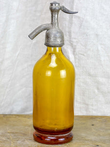 Antique French half-size Seltzer bottle - yellow / amber