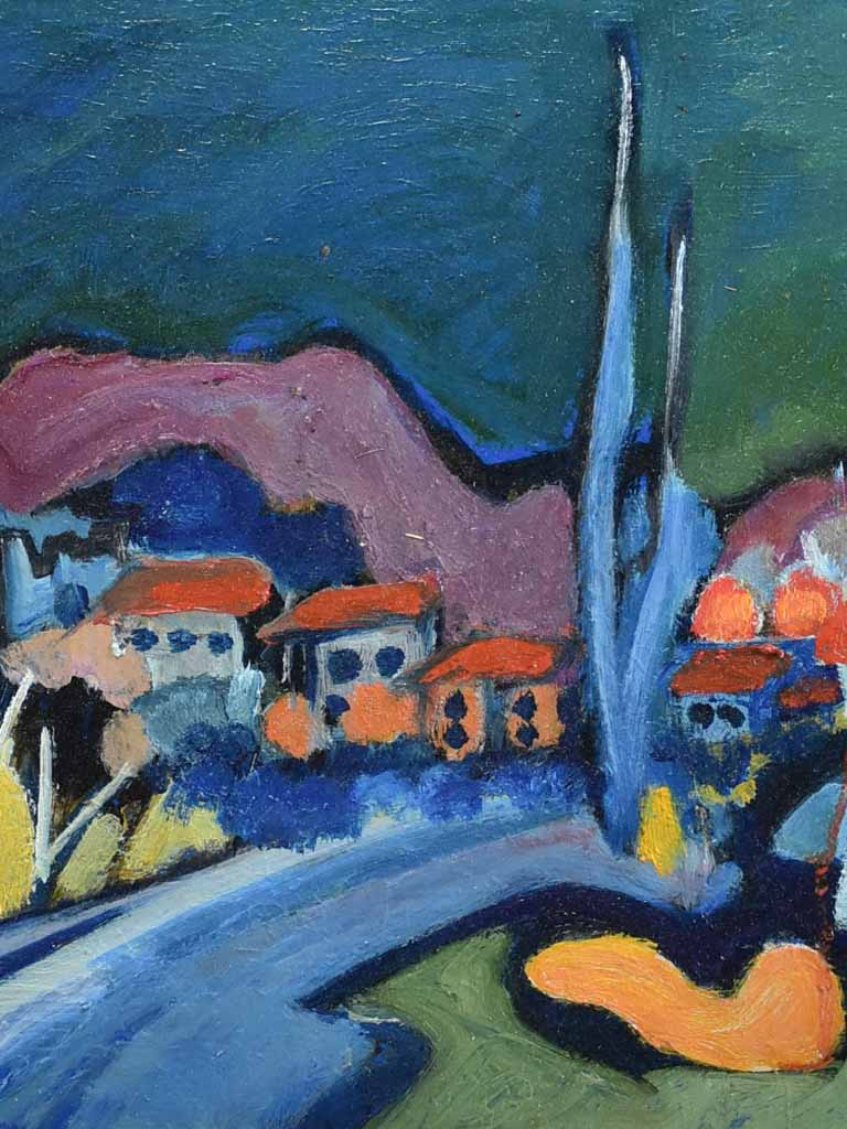 "Oil on canvas - Provencal village in autumn with cypress - Roger Oulion 19¾"" x 23¾"""