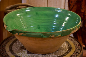 Large French preserving bowl with green glaze