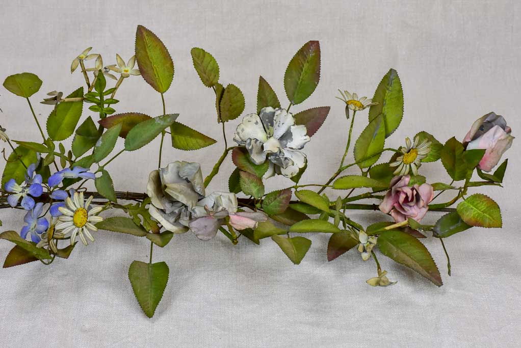 19th Century Napoleon III tole leaves and flowers - wall sculpture