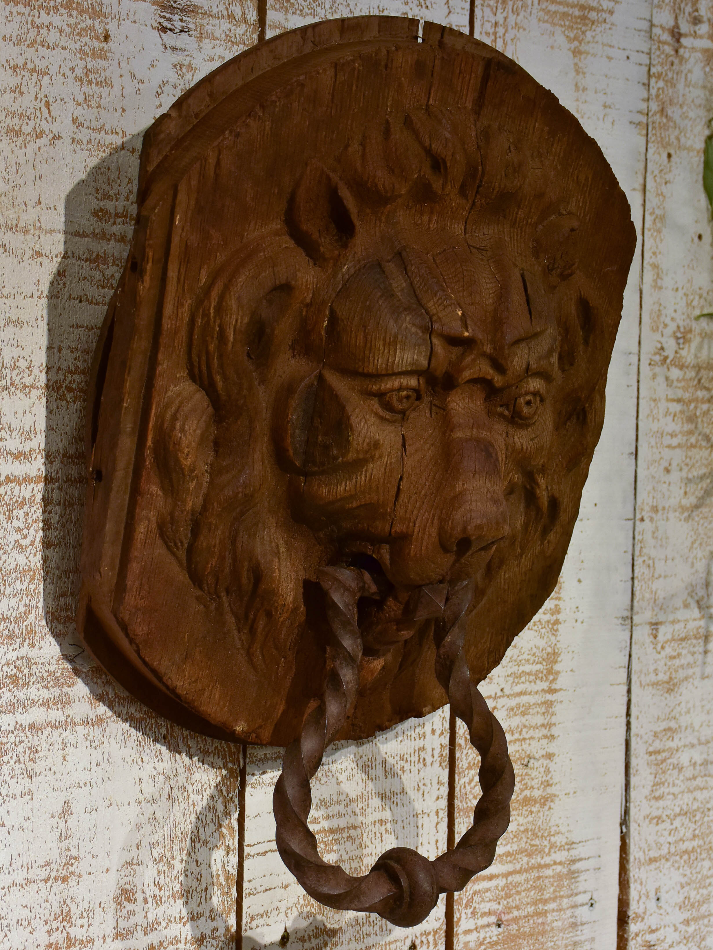 Very large antique French door knocker - lion's head