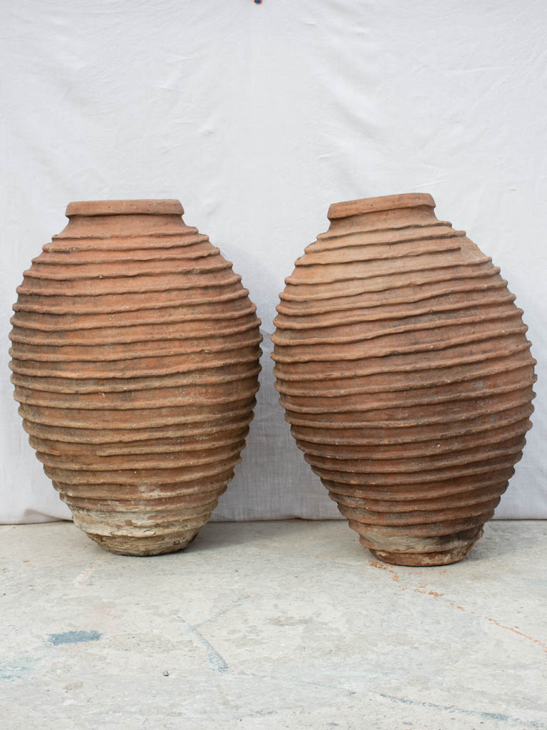 Two very large nineteenth century ribbed pots - Mediterranean 41""