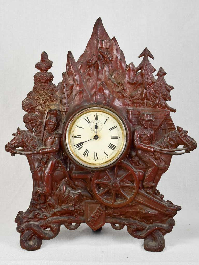 19th-century cast iron French clock PATRIE