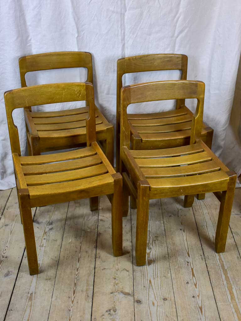 Four 1960's French oak dining chairs - Guillerme & Chambron