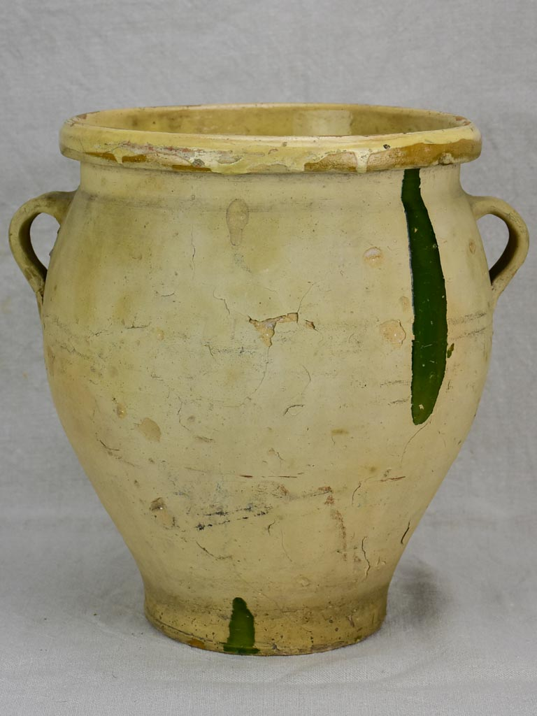 Large antique French confit pot with green splash 13""