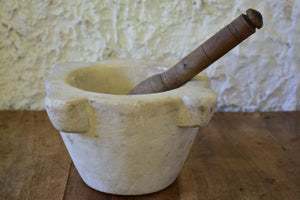 Antique French marble mortar and pestle