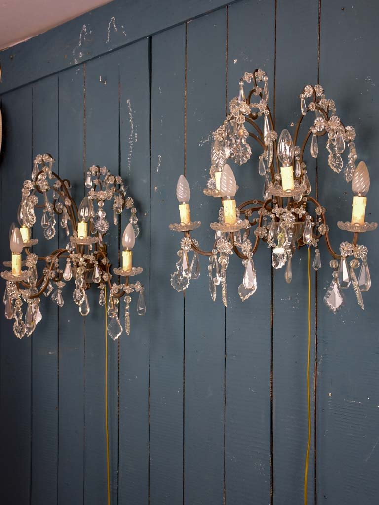 Pair of 1940's crystal wall sconces - 5 lights