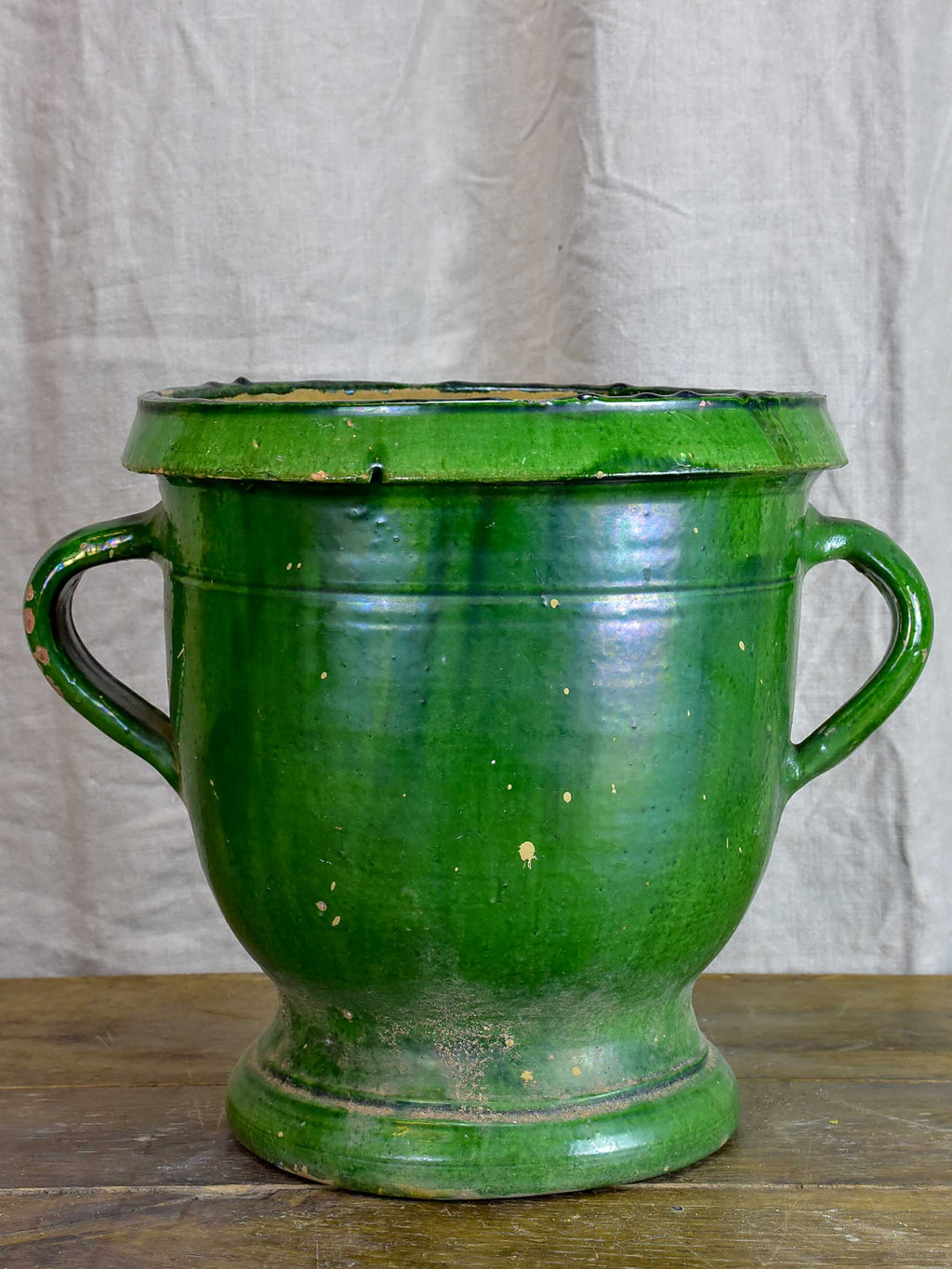 Antique French garden planter with green glaze - Castelnaudary