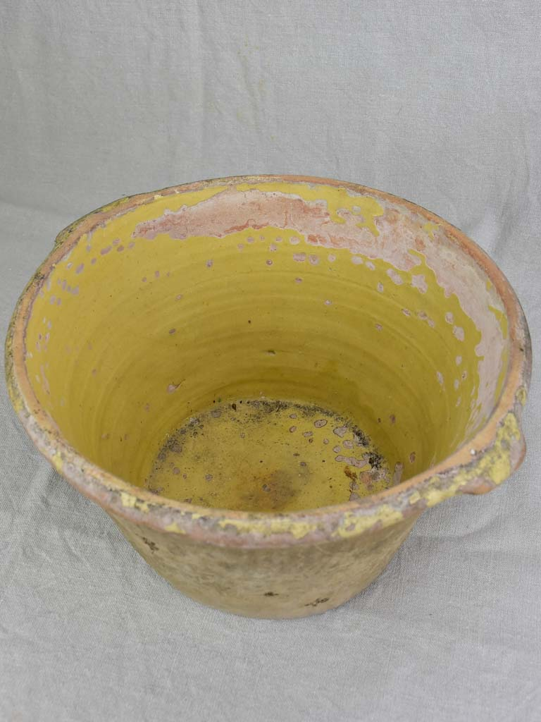 Large deep antique French mixing bowl / tian with yellow glaze 14½""