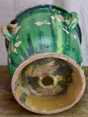 Very large antique French garden planter with green glaze and 4 handles