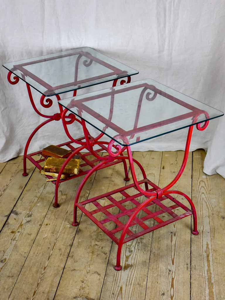 Pair Of 1960 S Side Tables Red Wrought Iron With Glass Tops 19 X 1