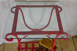 "Pair of 1960's side tables - red wrought iron with glass tops 19¾"" x 19¾"""