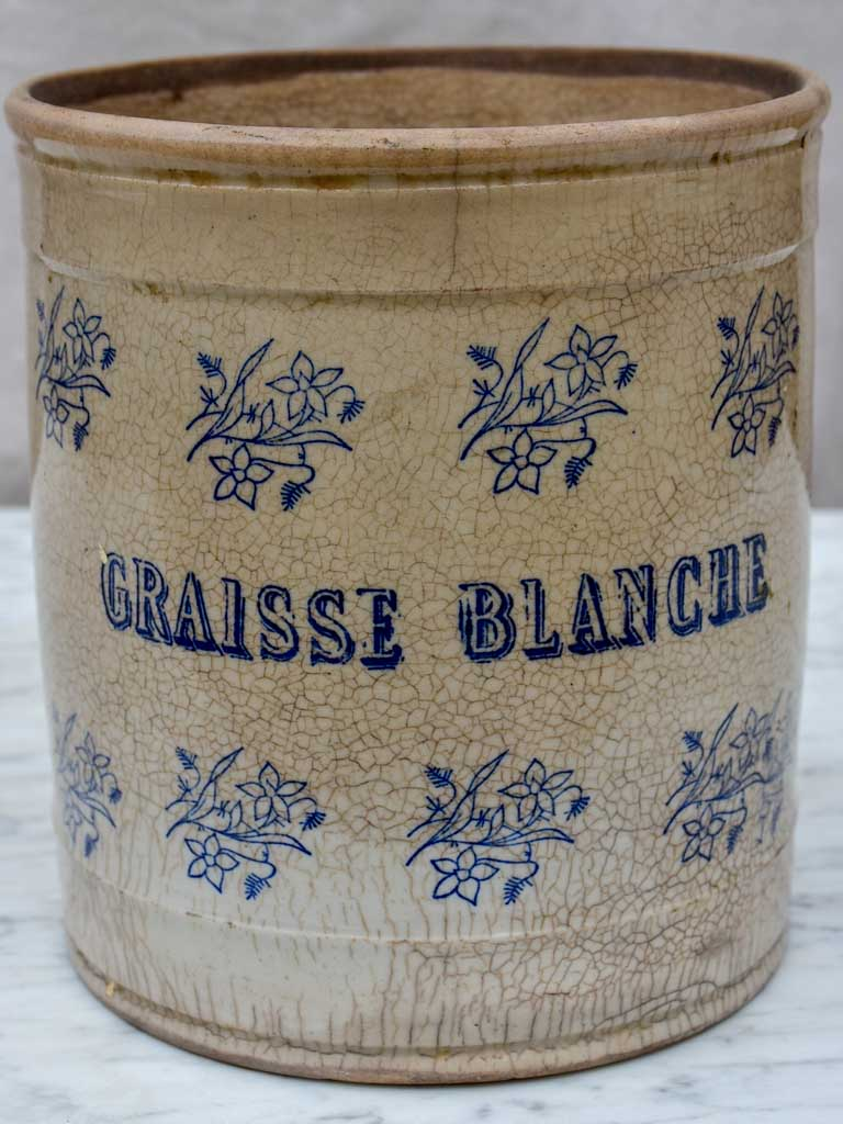 Antique French Saint Uze earthenware pot 'Graisse Blanche' 8""