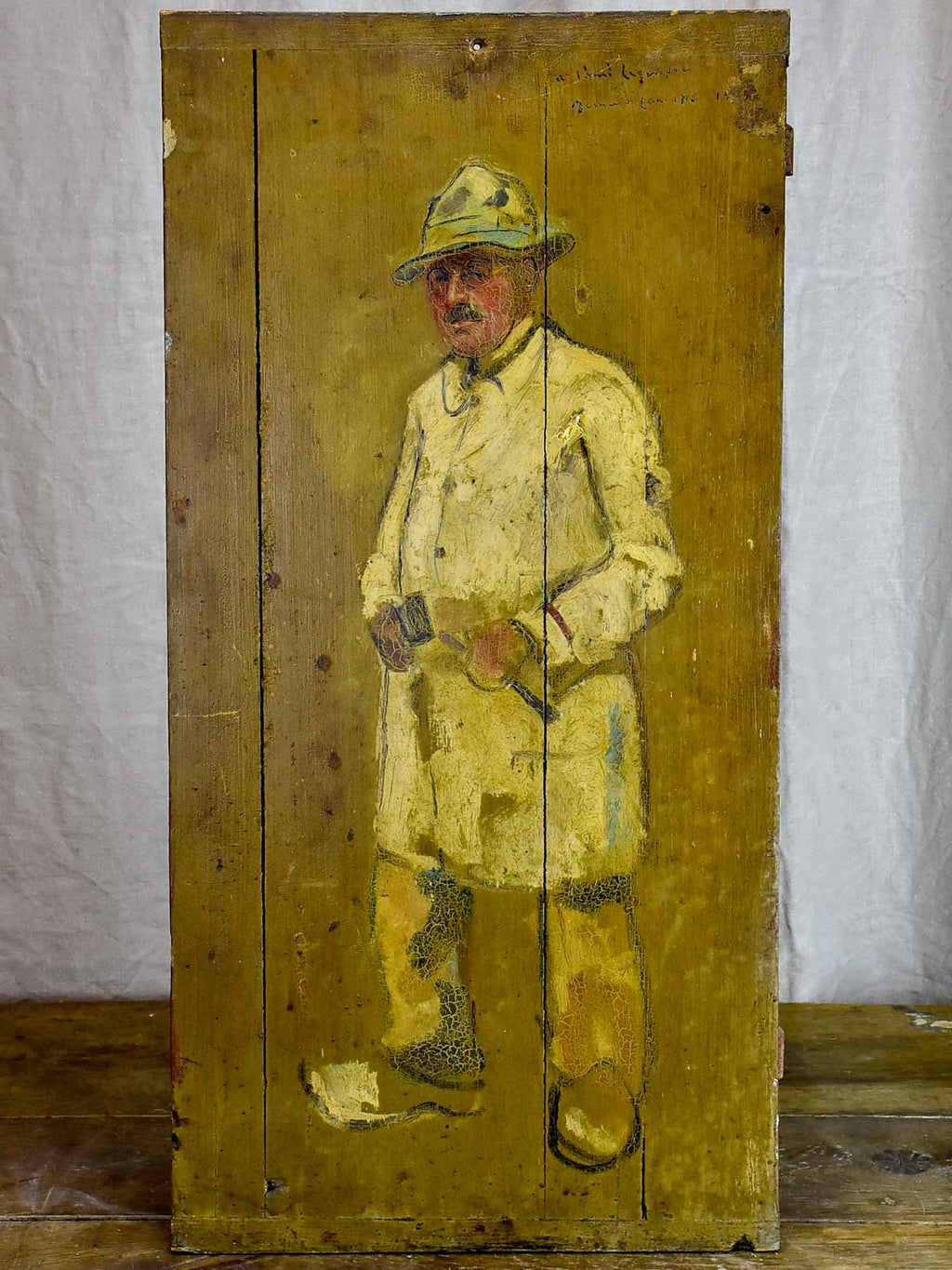 Antique French painting of a man - painted on a shutter