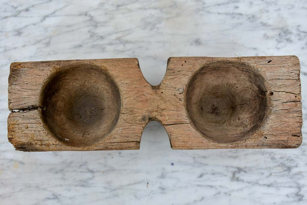 Primitive antique French salt and pepper wooden bowls