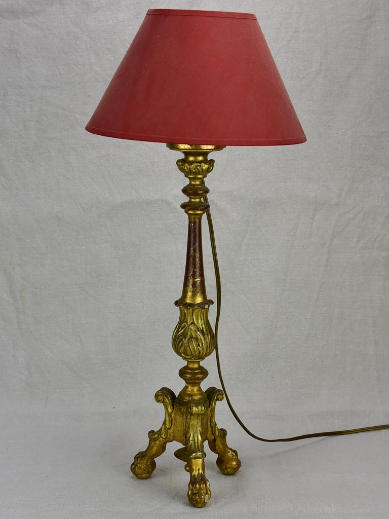 Antique French candlestick lamp - giltwood