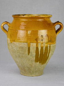 Large antique French confit pot with yellow / orange glaze 11¾""
