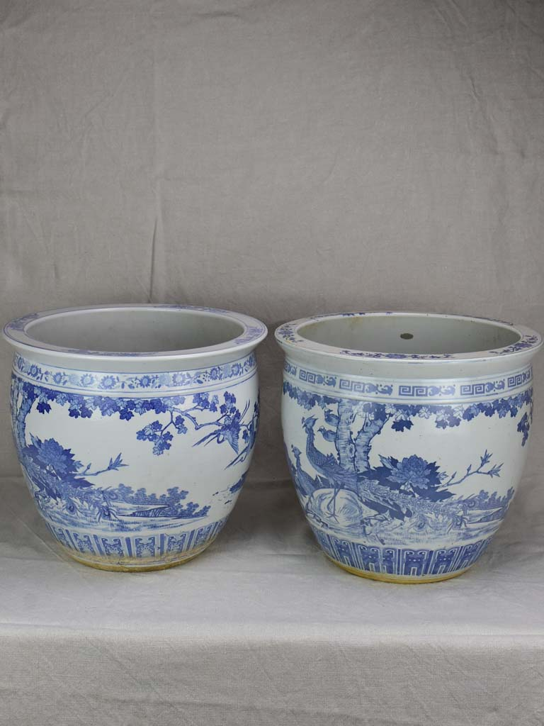 Pair of mid-century blue and white chinoserie flower pots 14¼""