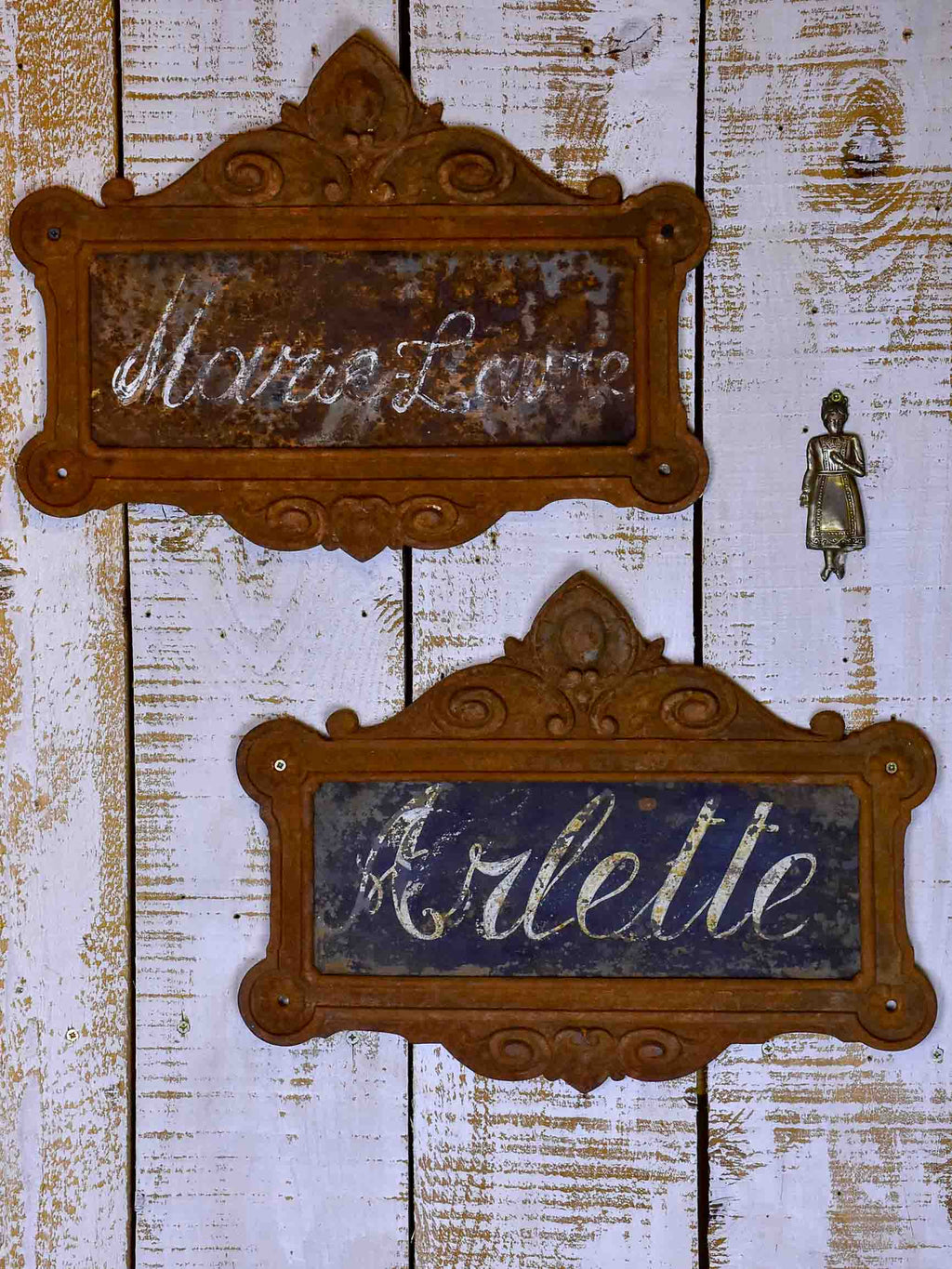 Two antique French cast iron signs from horse stables