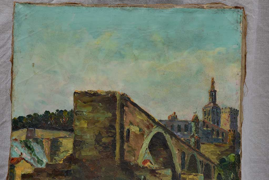 "Antique French painting of the Pont d'Avignon - acrylic on canvas 15"" x 21¾"""